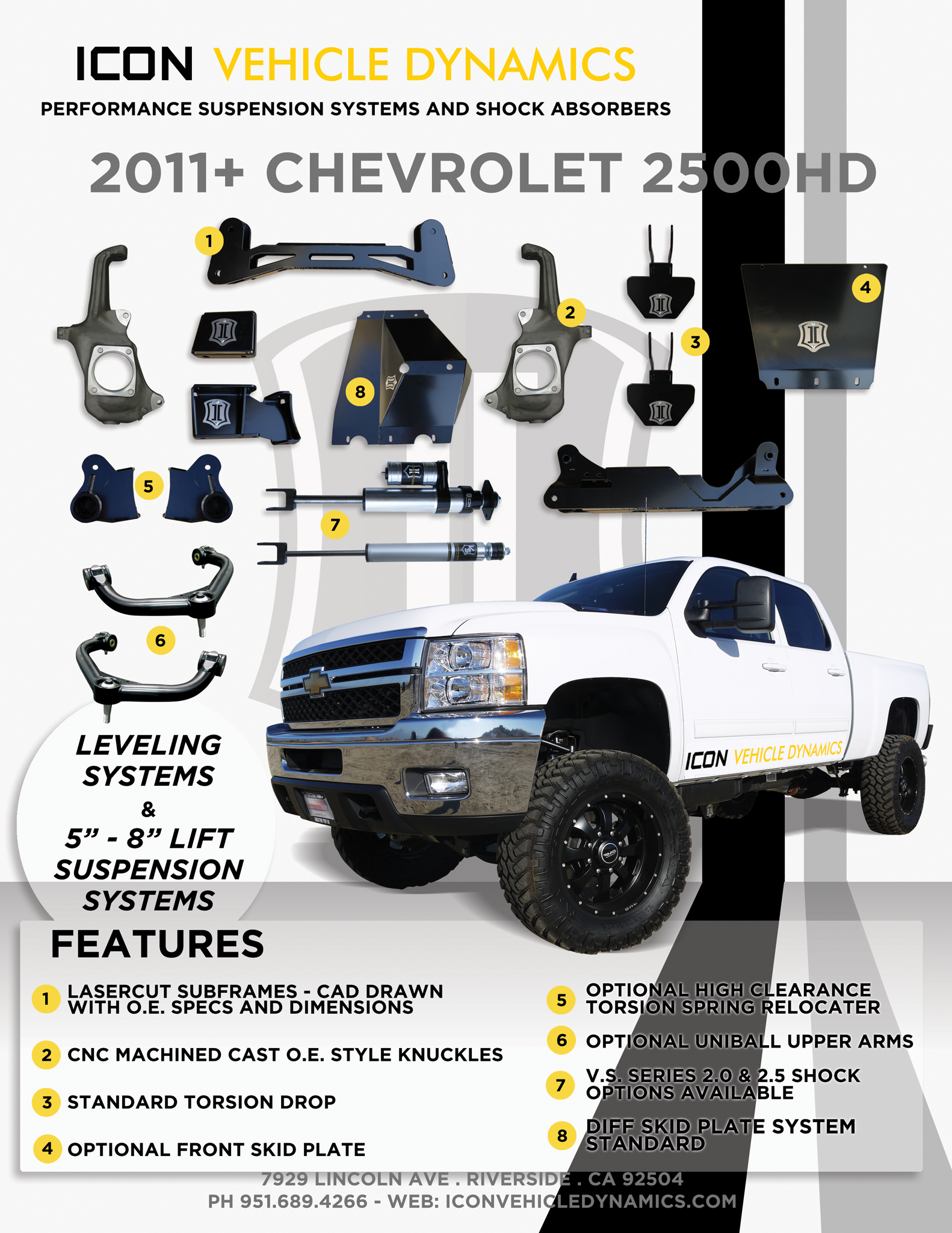 "ICON 2011 Chevy 2500HD / 3500 5-8"" Lift Kit Flyer"