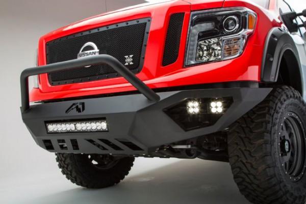 004-2016-nissan-titan-xd-cummins-diesel-sema-build-fab-fours-vengeance-front-bumper-with-baja-designs-led-light-bar